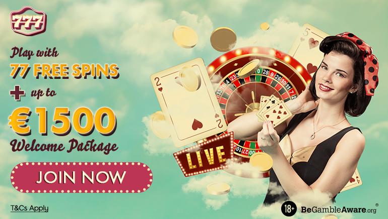 Jouez avec 77 tours gratuits + jusqu'à 1500 $ de forfait de bienvenue