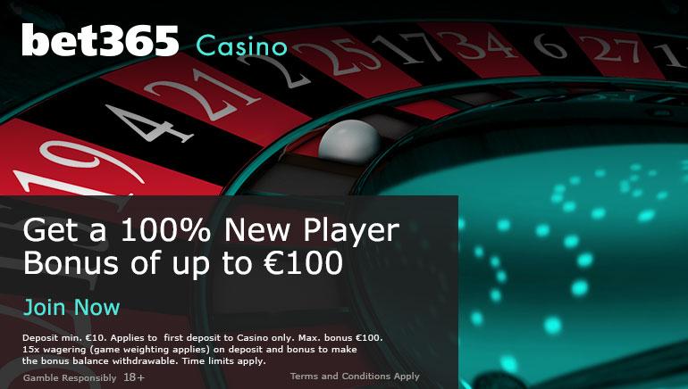 Bet365 Casino - Obtenez un bonus de nouveau joueur jusqu'à 100 $
