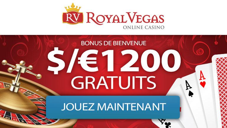 Royal Vegas Casino - BONUS SUR DÉPÔT DE BIENVENUE 1200 €